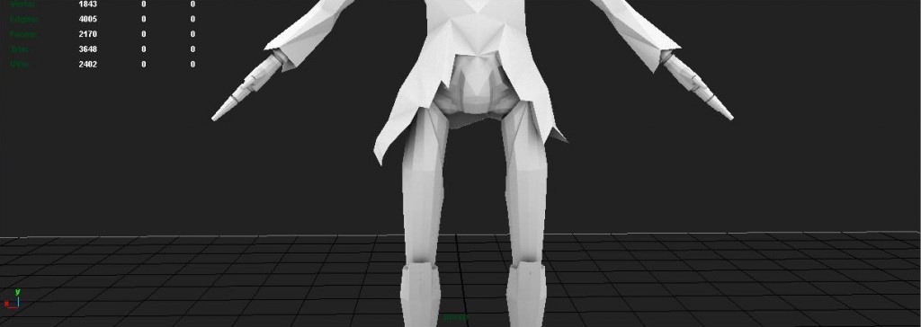 This area was particularly fun to model because I had a limited amount of poly's to work with but still wanted his legs to look like they were robotic. also the way the jacket looks against that legs is my favorite part of the model.