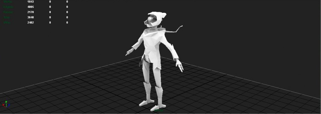 This is my model Rust-E he started with a sculpt and then I retopologized it in Zbrush.