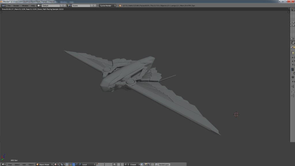 Here is a render of our plane using Cycles render engine in Blender.