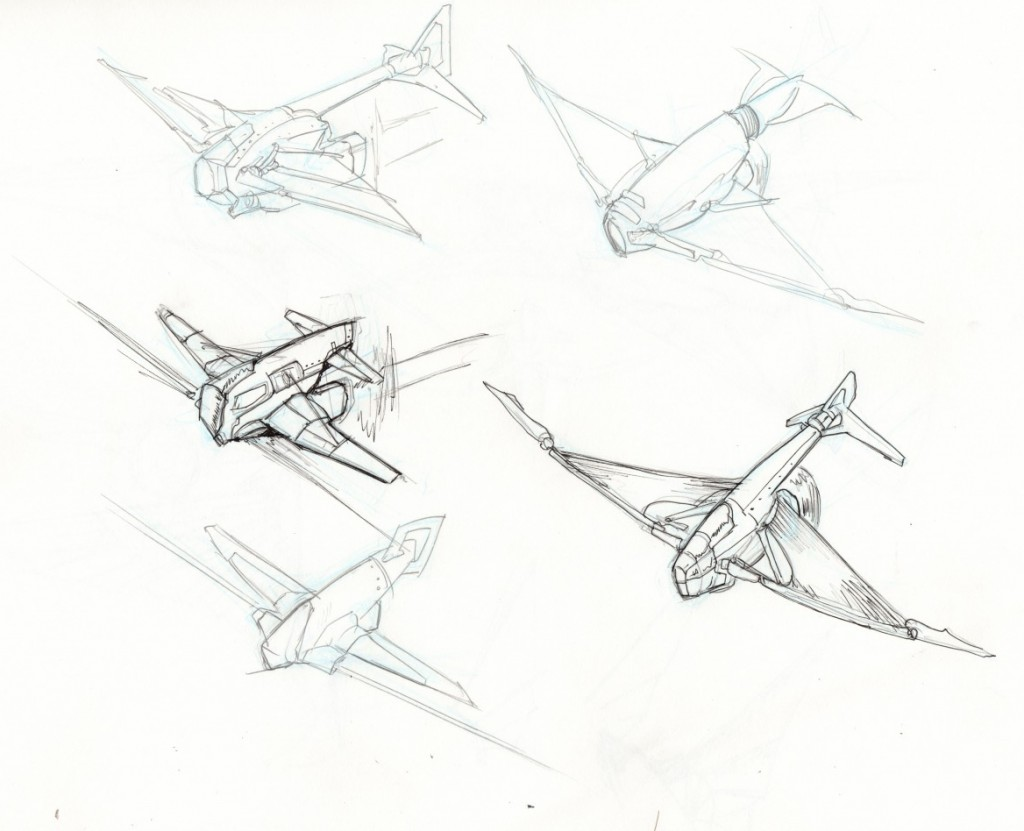 Preliminary explorations placing the engine beneath the wings and, in some cases, the tail.