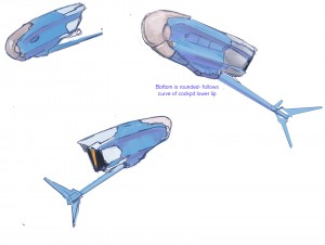 Perspectives on the plane in an old color scheme, focusing on the shape of the body.
